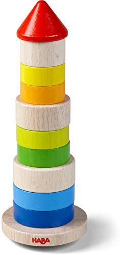 HABA 305403 - Stapelspiel Wackelturm, Stapel- und Motorikspiel aus Holz mit Basisplatte und bunten Stapelsteinen, für freies Spielen oder Spiel nach Anleitung, Holzspielzeug ab 2 Jahren