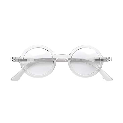 LONDON MOLE Eyewear | Moley Runde Lesebrille | Coole Leser | Herren Damen Unisex | Transparent | + 1,0