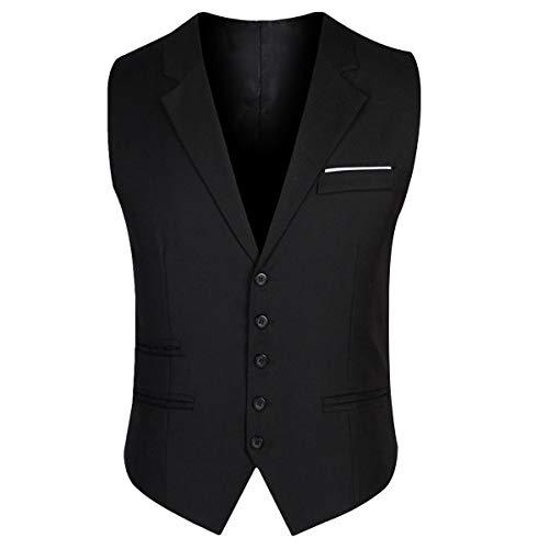 YOUTHUP Chaleco para Hombre Elegantes Chalecos de Traje Negro y Gris