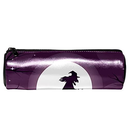 Spooky Witch - Estuche de piel para lápices de bruja de Halloween, bolsa de cosméticos para estudiantes, papelería, escuela, trabajo, oficina, almacenamiento
