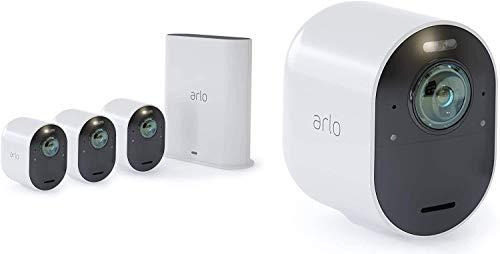 Arlo Ultra Überwachungskameras & Alarmanlage, 4K UHD, 4er Set, Smart Home, kabellos, Innen/Außen, Farbnachtsicht, 180 Grad Blickwinkel, WLAN, 2-Wege Audio, Spotlight, Bewegungsmelder, (VMS5440) - weiß