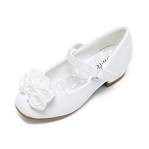 STELLE Girls Mary Jane Flats Low Heel Party Dress Shoes for Kids Flower Girls (T10-White, 11ML)