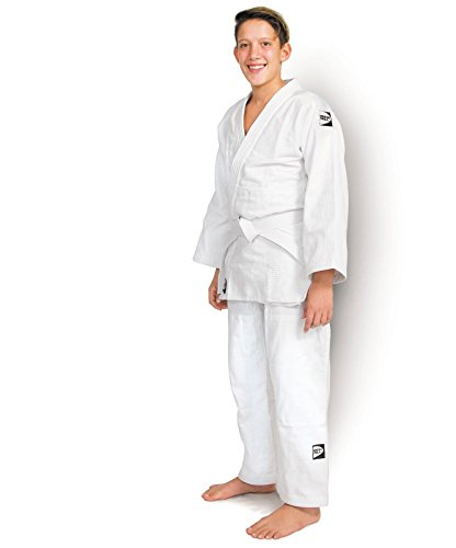 GREEN HILL JUDOGI CLUB 450 g/m2 JUDO GI UNIFORME BLANCO AZUL KIMONO TRAJE JU JITSU (Blanco, 160 Large Fit)