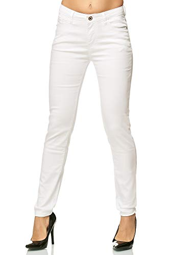 Elara Damen Stretch Hose Skinny Jeans Elastisch Chunkyrayan G09-1 White 36 (S)