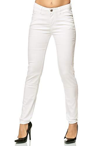 Elara Damen Stretch Hose Skinny Jeans Elastisch Chunkyrayan G09-1 White 42 (XL)