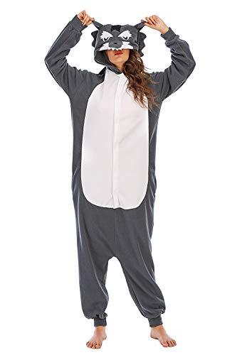 HUTUTU Unisex Tier Onesie Sleepwear Jumpsuit ,Grauer Wolf Tier Kostüm Jumpsuit Fasching Cosplay Overall Pyjama