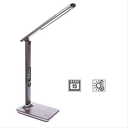 Lámpara de mesa para negocios, oficina, escritorio, luz de 15 niveles de brillo táctil, regulable, plegable, lámpara de mesa con alarma, calendario