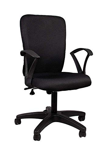 RC Idris Black Color revolving Office Chairs Ergonomic Executive Computer Push Back Adjustable Chair for Home,Comfortable armrest