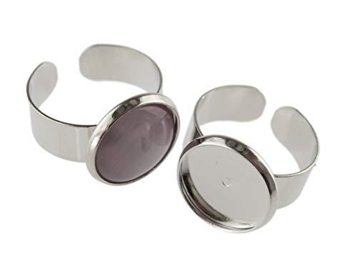 Vintageparts 4 Ringrohlinge aus Messing für 14 mm Cabochon in silberfarben platiniert, DIY-Schmuck