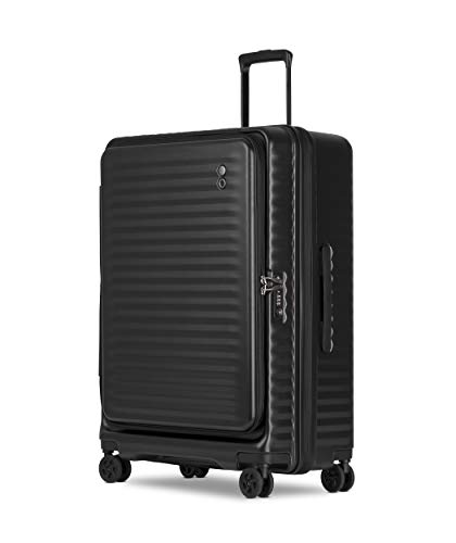Echolac Celestra EchoLite Polycarbonate Suitcase Suitcase, Large 75 cm Lightweight Luggage with Compact-Design Opening and Expander, Black