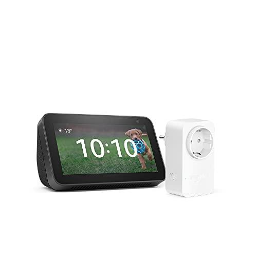 Nuevo Echo Show 5 (2.ª generación, modelo de 2021), Antracita + Amazon Smart Plug (enchufe inteligente WiFi), compatible con Alexa