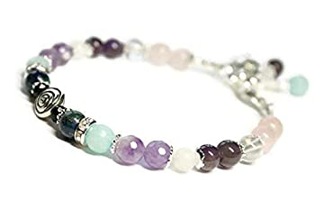 Swirl Fertility and Pregnancy Bracelet/Adjustable Clasp/Genuine Gemstones Rose Quartz Amethyst Chrysocolla Black Onyx Moonstone Amazonite/Crystal Healing Jewelry