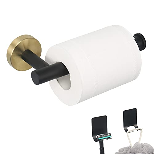 TocTen Toilet Paper Holder-Toilet Paper Roll Holder Wall Mounted for Bathroom with 2 Razor Holders, Thicken Stainless Steel Drilling Tissue Paper Dispenser for Toilet, Kitchen Office (Black Gold)