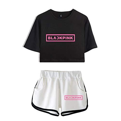Blackpink Conjunto de Camiseta Tops y Pantalones Cortos Mujer Ropa Casual Chándales...