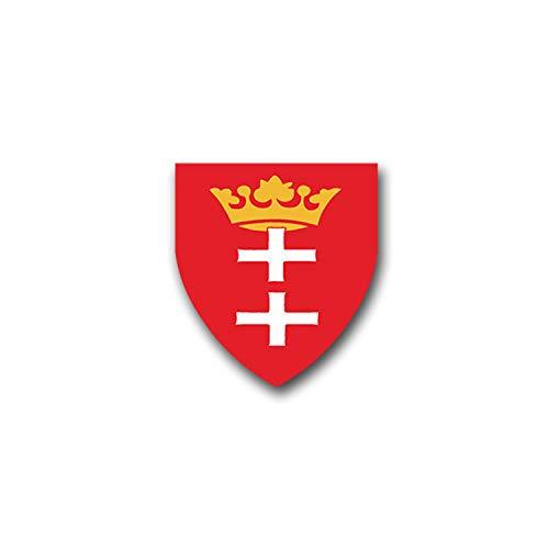 Aufkleber/Sticker Danzig Gdansk Polen Pommern Wappen Abzeichen 6x7cm A1179
