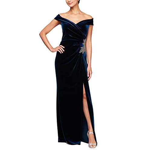 Alex Evenings Women's Long Off The Shoulder Fit and Flare Dress, Imperial Velvet Beaded, 16 (Apparel)