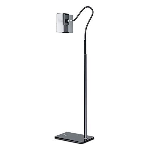 scosao Soporte de Suelo para iPad, Soporte para Tablet Cuello de Cisne Ajustable Rotación de 360 Grados Multiángulo Soporte de pie para Teléfono y Celular Soporte Universal de 5.5-7.9 Pulgadas,