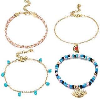 Set of 4 Blue and Pink Layered Anklet Bracelet for Women