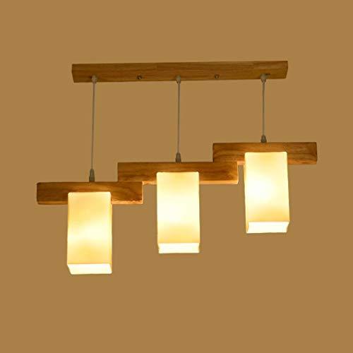 BAIJJ Creatieve persoonlijkheid Moderne eenvoudige restaurant-verlichting kroonluchter van massief hout kleine woonkamer eettafel drie lampen