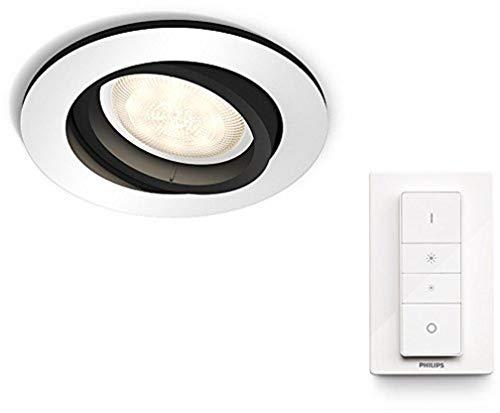 Philips Hue Luminaire télécommandé Spot encastré MILLISKIN Rond Chrome + Dim Switch...