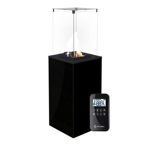Kratki Gaskamin Patio Glas Schwarz Ferngesteuert Gasheizgerät Wärmelampe Kamin 4-8,2 kW