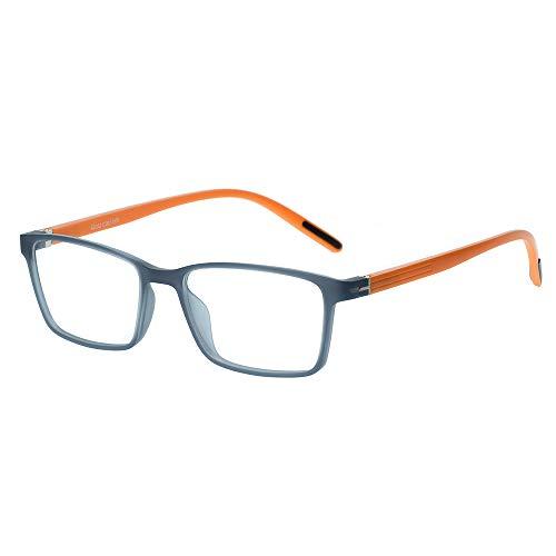 Kinder Kids Brille Teenager Gestell Fassung schick biegsam niedlich Brillenrahmen Gläser klar, ungeschliffen und eckig für Jungen Mädchen (Alter 5-12 Jahre) (WMB05-07 C20 Gray+Orange)