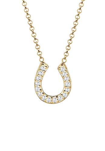 Elli Halskette Damen Hufeisen Anhänger Glück mit Zirkonia Kristallen in 925 Sterling Silber
