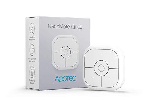 Aeotec NanoMote Quad, Z-Wave Plus S2 - Mando a distancia, 8 escenas, recargable, MiniMote 2