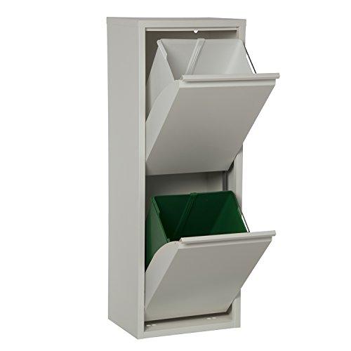 DRW 820200 Papelera Vertical de Reciclaje Basura, Metal, Blanco Roto Mate, 92x34x25 cm