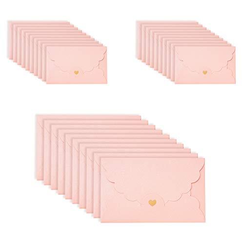 ASFINS Enveloppe Rose, 30 Pièces Enveloppe Kraft Enveloppe Faire Part, Enveloppe avec Coeur, pour Mariage de Cartes, Fournitures de Fête dAnniversaire, 17,4 x 11 cm (M)