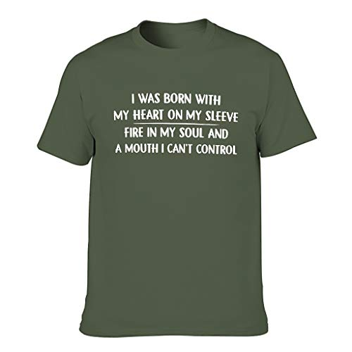 Camiseta de manga corta para hombre, diseño con texto en alemán 'Ich fue mit Meinem Herzen auf Meinen Handelsagent' verde militar L