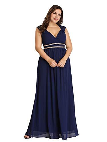 Ever-Pretty Vestito da Damigella Donna Scollo a V Senza Maniche Linea ad A Chiffon Stile Impero Taglie Forti Blu Navy 46