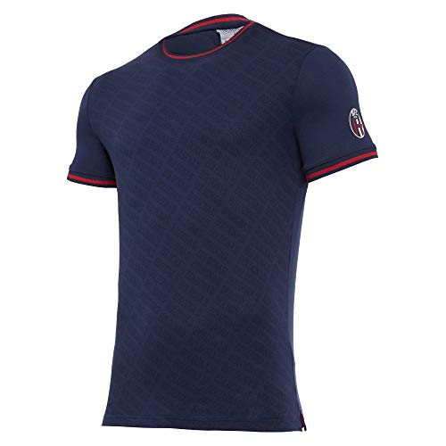 Macron Bfc Merch Ca T-Shirt Cottonpoly Stampa Allover NAV SR, Cotone Bologna FC 2020/21 Uomo, Blu, L