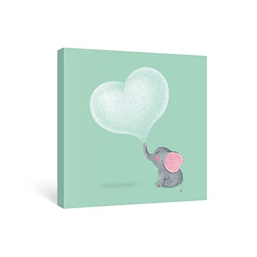 SUMGAR Canvas Wall Art Nursery Elephant Canvas Paintings Teal Gray Pictures Grey Animal Artwork Pink Prints Baby Gifts,12x12 inch