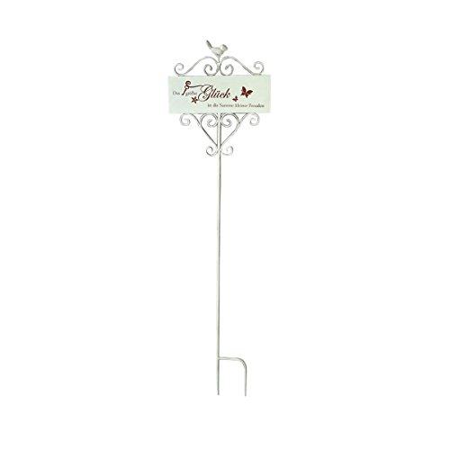 Unbekannt VARILANDO® Gartenschild mit 3 verschiedenen Schriftzügen Metalldekoration Gartendekoration Deko-Schild (Gartenschild Glück)