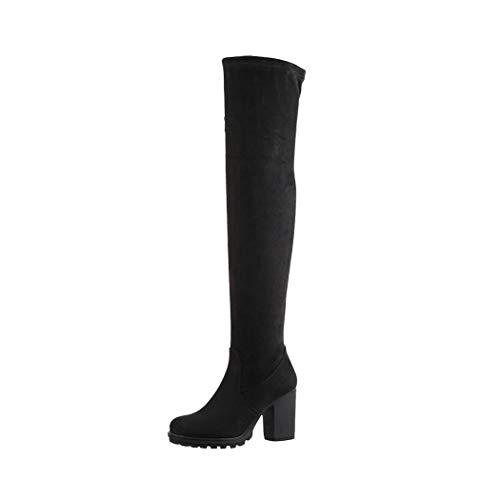 Elara Damen Stiefel Overknee High Heels Absatz Chunkyrayan E4835 Black-41
