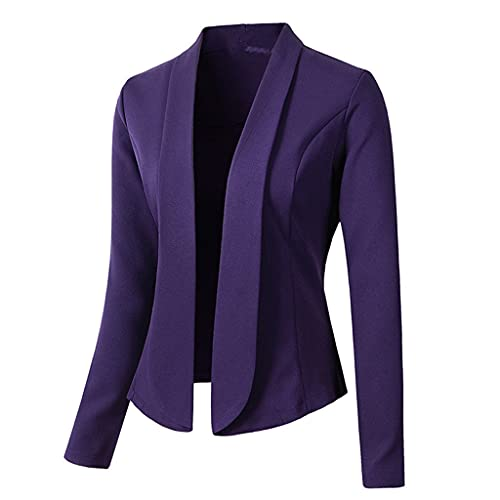 ZDBBY Mujeres Blazer Abrigos Sólido Casual Trajes de manga larga Turn Down Collar Slim Office Lady Business Suit Chaquetas (Color : Purple, Size : 2XL code)