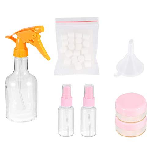 7 Stück Toilettenflaschen Set Kosmetische Make-Up Flüssigkeitsbehälter mit Trichter Papier Seifenblätter Sprühflasche Plastikgläser für Seifenshampoo Lotionen Handspender