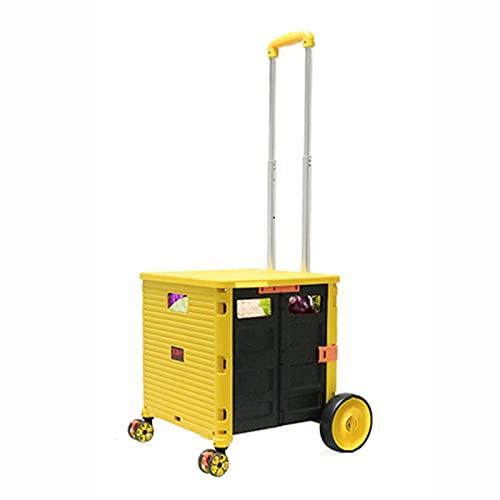 Carrello per La Spesa Pieghevole Carrello della Spesa Pieghevole Portatile, Veicolo di Trasporto Multifunzionale con palo di Alluminio Regolabile, può trasportare Una Valigia da 50 kg