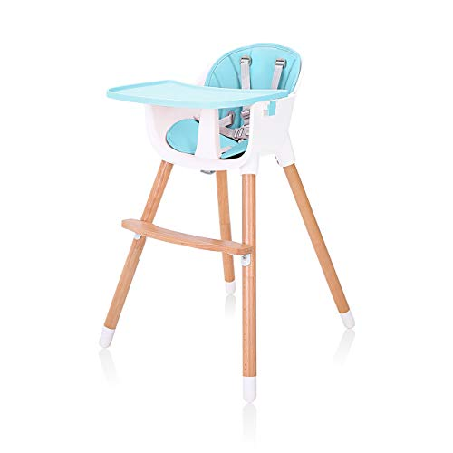 Baby Vivo Chaise haute Bébé 2 en 1 réglable pour Enfant avec Tablette Amovible de 6 Mois à 3 Ans - Lani en Turquoise