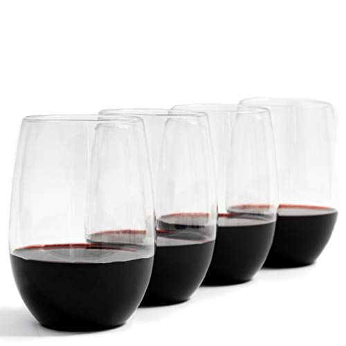 Unbreakable Stemless Plastic Wine Glasses-16 oz Clear Shatterproof Glassware-Set of 4-100% Tritan Drinking Glasses- Perfect Wine Tumblers for Indoor or Outdoor Use-Dishwasher Safe