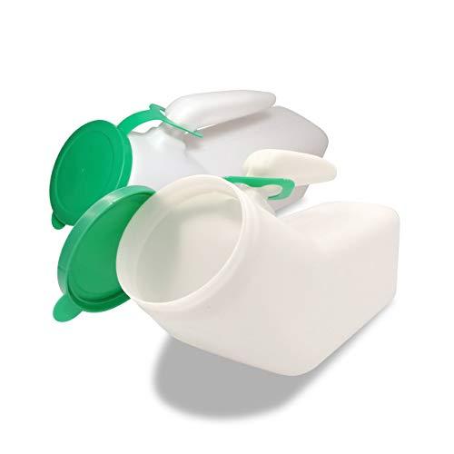 JJ Care Urinals for Men 1000ml (2 Pack), Spill Proof Plastic Pee Bottles for Men with Snap on Lid, Male Urinals, Pee Container Men, Portable Urinal Bottle for Travel, Elderly & Incontinence -Green