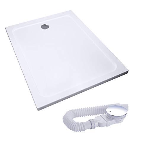 IMPTS Duschwanne Duschtasse komplettset,70x100x4 quadrat extra flach Eckig Acryl Weiß Dusche Acrylwanne für Duschabtrennung Duschkabine, inkl.Ablaufgarnitur