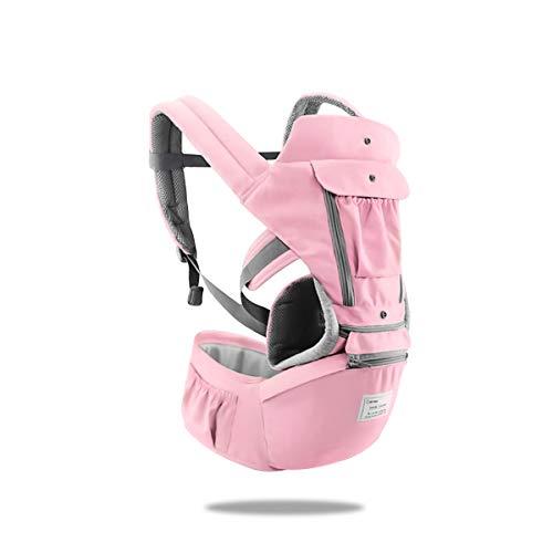 SONARIN 3 in 1 Multifunktion Hipseat Baby Carrier, Babytrage, Vorder und Rückseite,100% Baumwolle,Ergonomisch,Freie Größe(Rosa)