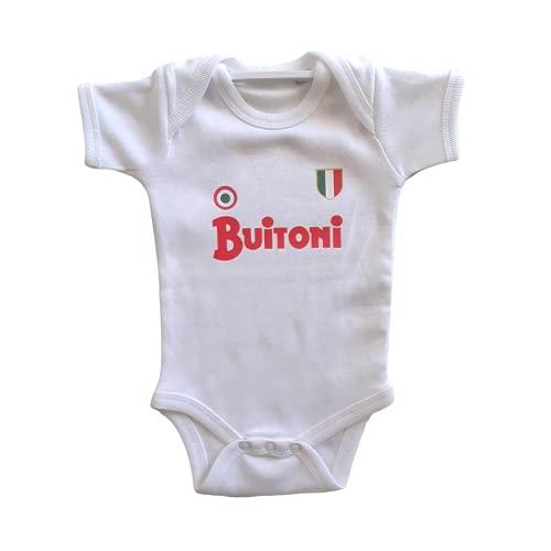 maglia napoli buitoni PRS/Spotapplick Body Bodino Neonato Buitoni 1985 100% Cotone Neonato Manica Corta Bianco (Azzurro 6-12 mesi)