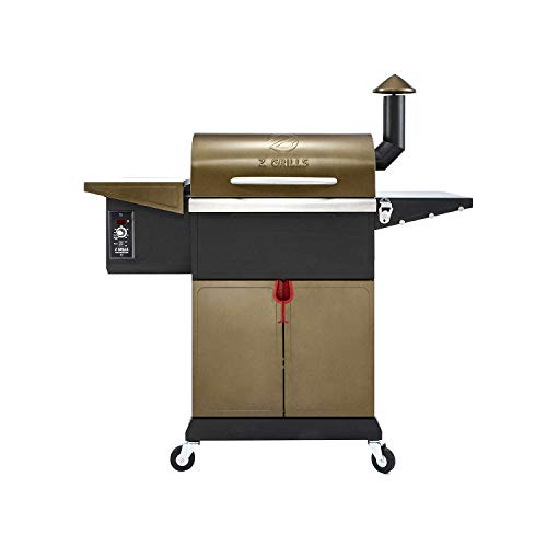 Z GRILLS ZPG-L600D 8 in 1 Wood Pellet Portable Steel Constructed Grill Smoker for Outdoor BBQ Cooking with Digital Temperature Control, Bottom Storage Area, Bronze, 573 Sq In Grills Propane