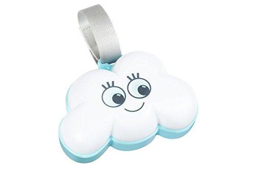 Badabulle B015006 Nachtlicht Wolke, Spieluhr mit 15 Melodien, 6 Lichtfarben, Klettverschluss für Kinderbett, mehrfarbig