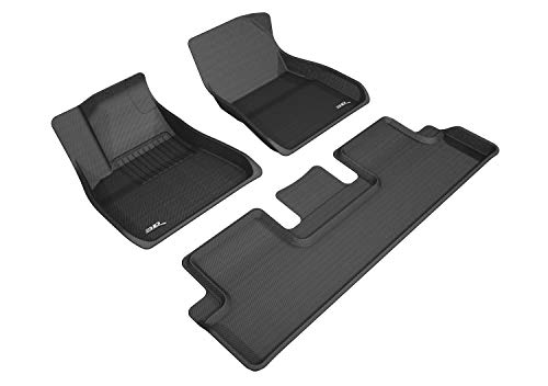 3D MAXpider Tesla Model 3 2017-2019 Custom Fit All-Weather Car Floor Mats Liners, Kagu Series (1st & 2nd Row, Black)
