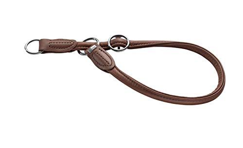 HUNTER ROUND & SOFT Dressurhalsung, Hundehalsband, Leder, Nappaleder, rund, weich, 45 (M), braun