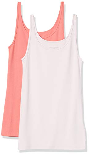 Amazon Essentials 2-Pack Thin Strap Tank-Top-and-Cami-Shirts, Coral/Rosa Claro, M